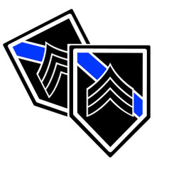 Thin Blue Line Shield Shaped Police Sergeant Rank Decals. Pack of 4