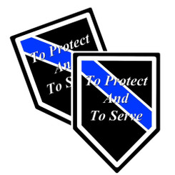 "Thin Blue Line ""To Protect And To Serve"" Unit Shield Shaped Police Decal Package of 4"