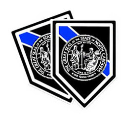 Thin Blue Line North Carlina State Police Unit Shield Shaped Police Decal Package of 4