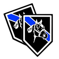 Thin Blue Line Mounted Unit Shield Shaped Police Decal Package of 4