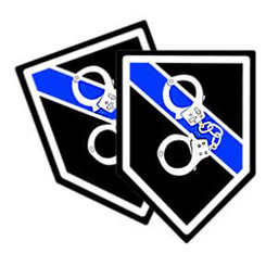 Thin Blue Line Hand Cuffs Unit Shield Shaped Police Decal Package of 4