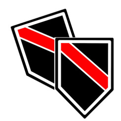 Thin Red Line Unit Shield Shaped Decal Package of 4