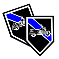 Thin Blue Line Motorcycle Unit Shield Shaped Police Decal Package of 4