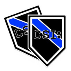 Thin Blue Line CSI Unit Shield Shaped Police Decal Package of 4