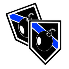 Thin Blue Line EOD Bomb Unit Shield Shaped Police Decal Package of 4