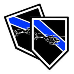 Thin Blue Line Helicopter Unit Shield Shaped Police Decal Package of 4