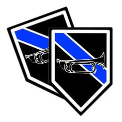 Thin Blue Line Bugle Unit Shield Shaped Police Decal Package of 4