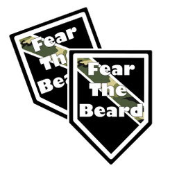 """Thin Camoflauge Line """"Fear The Beard"""" Shield Shaped Decal Package of 4"""