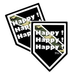 """Thin Camoflauge Line """"Happy! Happy! Happy!"""" Shield Shaped Decal Package of 4"""