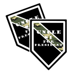 Thin Camoflauge Line Uncle Si for President Shield Shaped Decal Package of 4