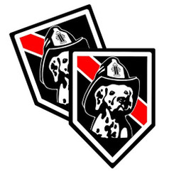 Thin Red K9 image Unit Shield Shaped Firefighter Decal Package of 4