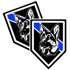 Thin Blue Line K9 image Unit Shield Shaped Police Decal Package of 4