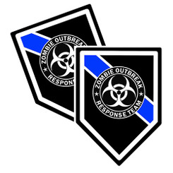 Thin Blue Line Zombie Outbreak Response Team Unit Shield Shaped Decal Package of 4
