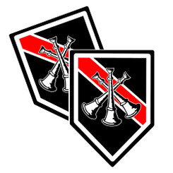 Thin Red Line Batallion Cheif Bugle Unit Shield Shaped Decal Package of 4