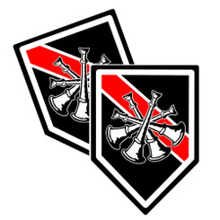 Thin Red Line District Chief Bugle Unit Shield Shaped Decal Package of 4