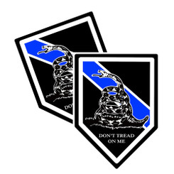 Thin Blue Line Don't Tread On Me Unit Shield Shaped Decal Package of 4