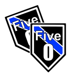 """Thin Blue Line """"Five-O"""" Unit Shield Shaped Police Decal Package of 4"""