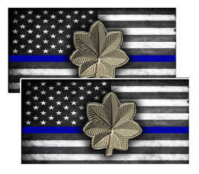 Thin Blue Line American Flag  Major Police Decal Package of 4