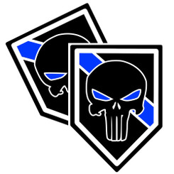Thin Blue Line Punisher Unit Shield Shaped Police Decal Package of 4