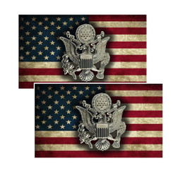 Army Crest on an American Flag Decal Package of 4