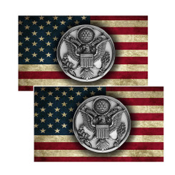Army Crest Coin on an American Flag Decal Package of 4