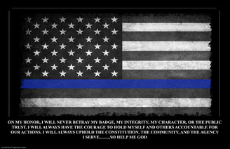 "60"" x 40"" Re-positional Decal Thin Blue Line American Flag Oath of Office"