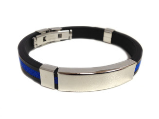 Thin Blue Line Hard Silicone ID Law Enforcement Bracelet