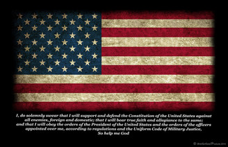 Uniform Code of Military Justice Oath On Rugged American Flag Poster - 8 X 10, 11 X 17, 24 X 36