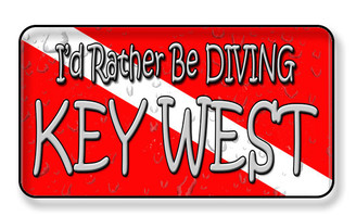 I'D Rather Be Diving In Key West Magnet - Divers Symbol Magnet -PACKAGE OF 4