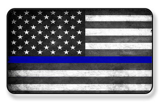 Thin Blue Line Subdued American Flag Magnet  PACKAGE OF 4