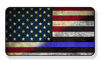 Distressed American Flag Magnet with Partial Thin Blue Line Magnet - PACKAGE OF 4
