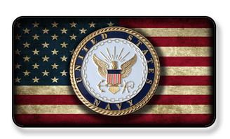 United States Navy Crest On Distressed American Flag  Magnet - Package of 4