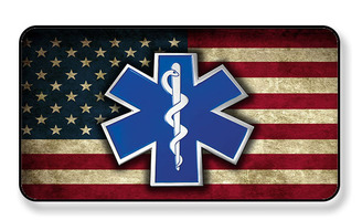 EMS Star of Life On Distressed American Flag Magnet -PACKAGE OF 4