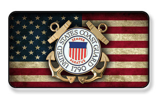United States Coast Guard On Distressed American Flag Magnet - Package of 4