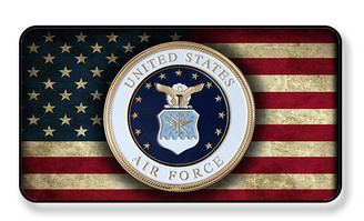 United States Air Force On Distressed American Flag Magnet - Package of 4