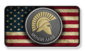 Molon Labe Come And Take It On Distressed American Flag Magnet - Package of 4