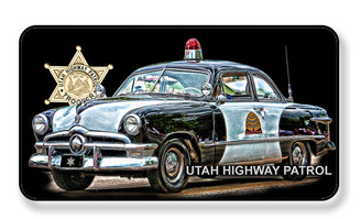 Vintage Car Utah State Trooper Highway Patrol Magnet - PACKAGE OF 4