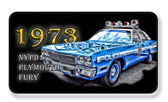 1973 NYPD Plymouth Fury Police Car Magnet - PACKAGE OF 4