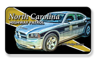 2008 Dodge Charger North Carolina Highway Patrol Car Magnet - PACKAGE OF 4