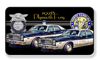 1978 Plymouth Fury NC Highway State Trooper Magnet - PACKAGE OF 4