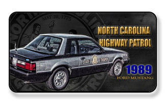 North Carolina Highway Patrol 1989 Ford Mustang Magnet - PACK OF 4