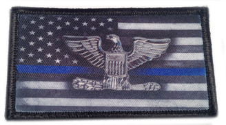 Thin Blue Line Subdued American Flag Chief Of Police Velcro Patch - PACKAGE OF 4