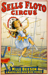 Vintage Salls Floto Circus M'lle Beeson High Wire Venus Poster
