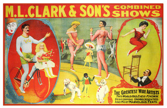 Vintage M.L. Clark & son's Combined Shows Circus Poster