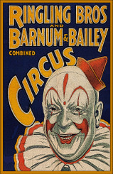 Ringling Bros and Barnum & Bailey Circus Vertical Clown Poster.