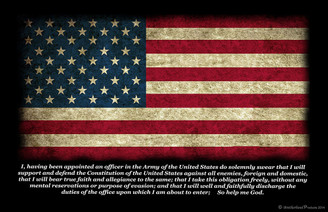 Army Officer's Oath Distressed American Flag Poster
