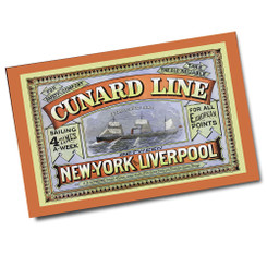 Vintage Cunard Line New York to Liverpool Ad Poster
