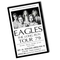 Vintage 1979 Charlotte, NC Eagles The Long Run Tour Ticket Poster