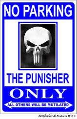 No Parking The Punisher Only 8x12 Decorative Metal Sign