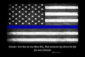 Thin Blue Line Flag John 15:13 Greater Love 8x12 Decorative Metal Sign